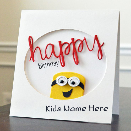 Write name on minion birthday greeting card for kids write name on awesome flower birthday cake bookmarktalkfo Image collections