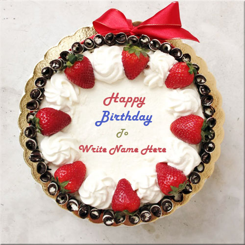 Write Your Lover Name On Strawberry Birthday Cake Picture
