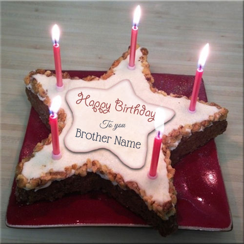 Star Shape Candle Birthday Cake With Your Brother Name