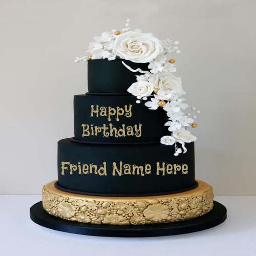 Free Birthday Cake Images With Name Editor : Write Name On Happy Birthday Button Greeting Card For Friend