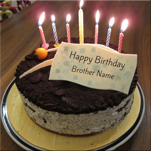 Personalize Candle Birthday Cake With Brother Name