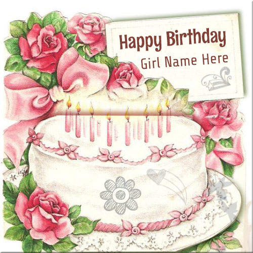 Write name on happy birthday wishes cards for girls vintage pink cake happy birthday card with girl name bookmarktalkfo Image collections