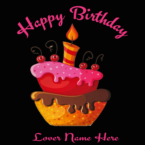 Write name on beautiful birthday cards greetings for lover write name on awesome flower birthday cake bookmarktalkfo Images