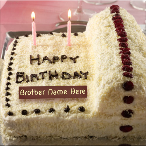 Cake Images With Name For Brother : Write Brother Name On White Chocolate Birthday Cake Picture