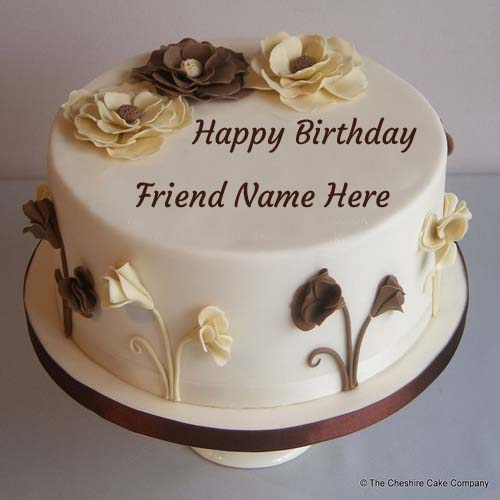 Birthday Images With Flowers And Cake With Names : Write Name On Birthday Cake For Lovely Friend