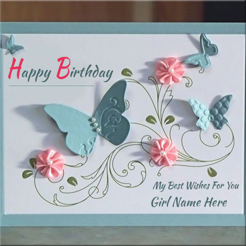 Handmade Birthday Wishes Card With Girls Name Creator