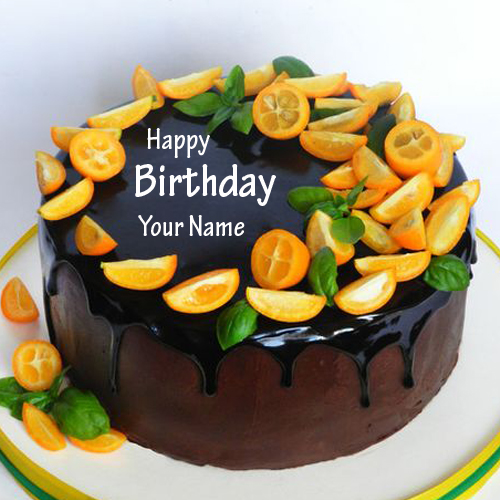 Decorating Cream Choco Fruit Birthday Cake With Friend Name
