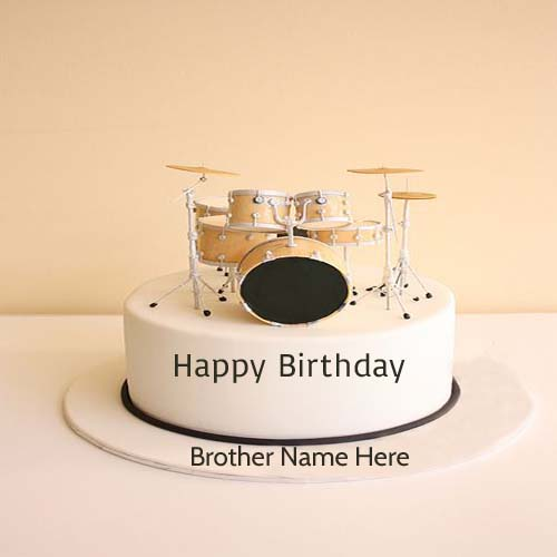Write Name On Drums Birthday Cake For Brother