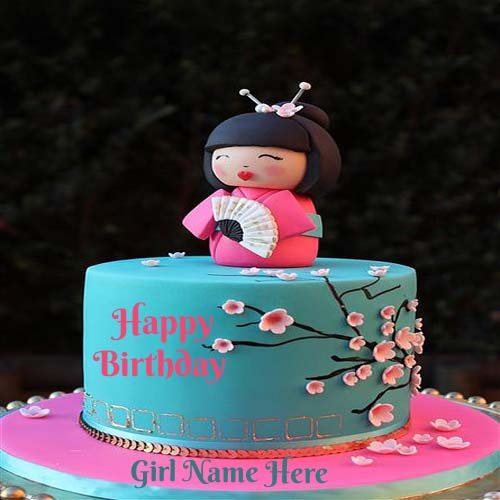 Write Name On Cute Baby Birthday Cake For Girls