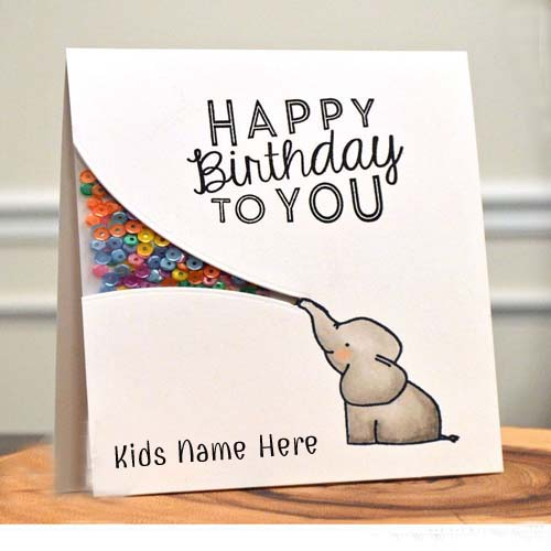 Write Name On Elephant Birthday Card For Kids