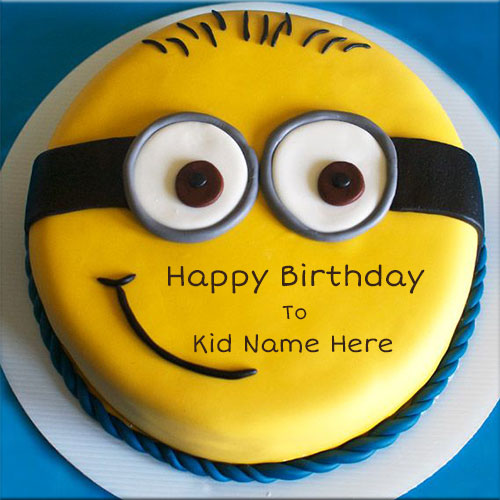 Generate Minion Happy Birthday Cake Picture With Kid Name
