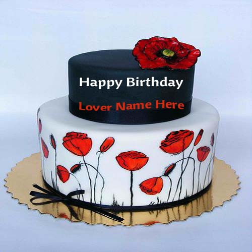 Write Name On Beautiful Elegant Birthday Cake For Lover