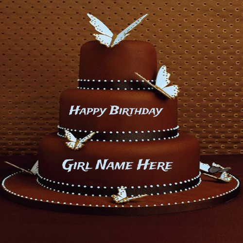Write Name On Chocolate Butterfly Birthday Cake For Girls